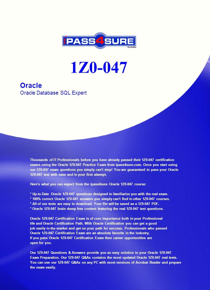 1z0-047 Oracle Database Sql Expert Pdf