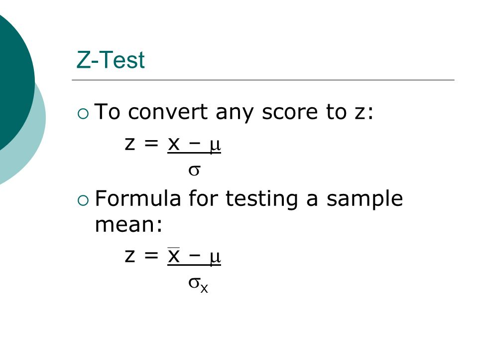 hypothesis test for the population mean z test aleks