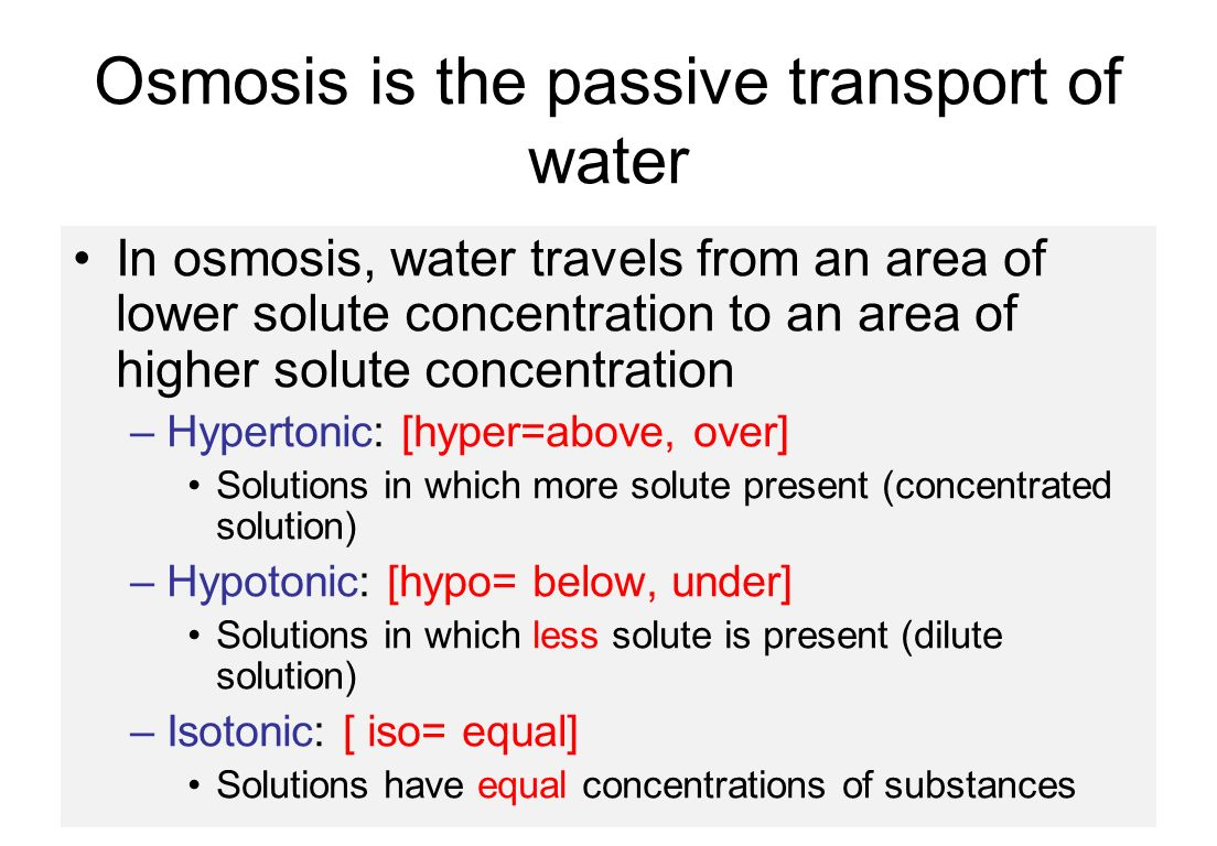 Osmosis Cellular Structure and Function  Diffusion of water across a selectively permeable membrane Three Types of Solutions  Isotonic  Hypotonic  Hypertonic