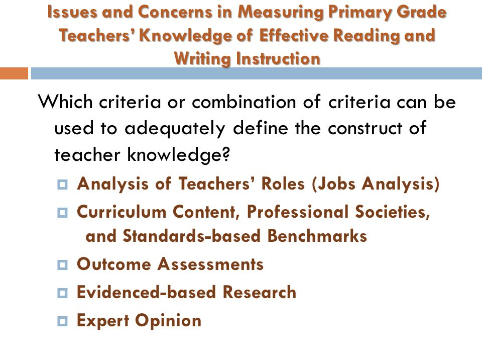 ASSESSING TEACHER KNOWLEDGE OF EFFECTIVE PRIMARY GRADE