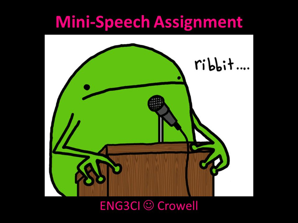 Mini-Speech Assignment ENG3CI Crowell  Getting Started… Learning