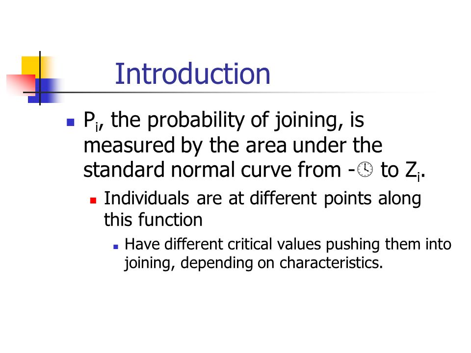 Introduction P i, the probability of joining, is measured by the area under the standard normal curve from -  to Z i.