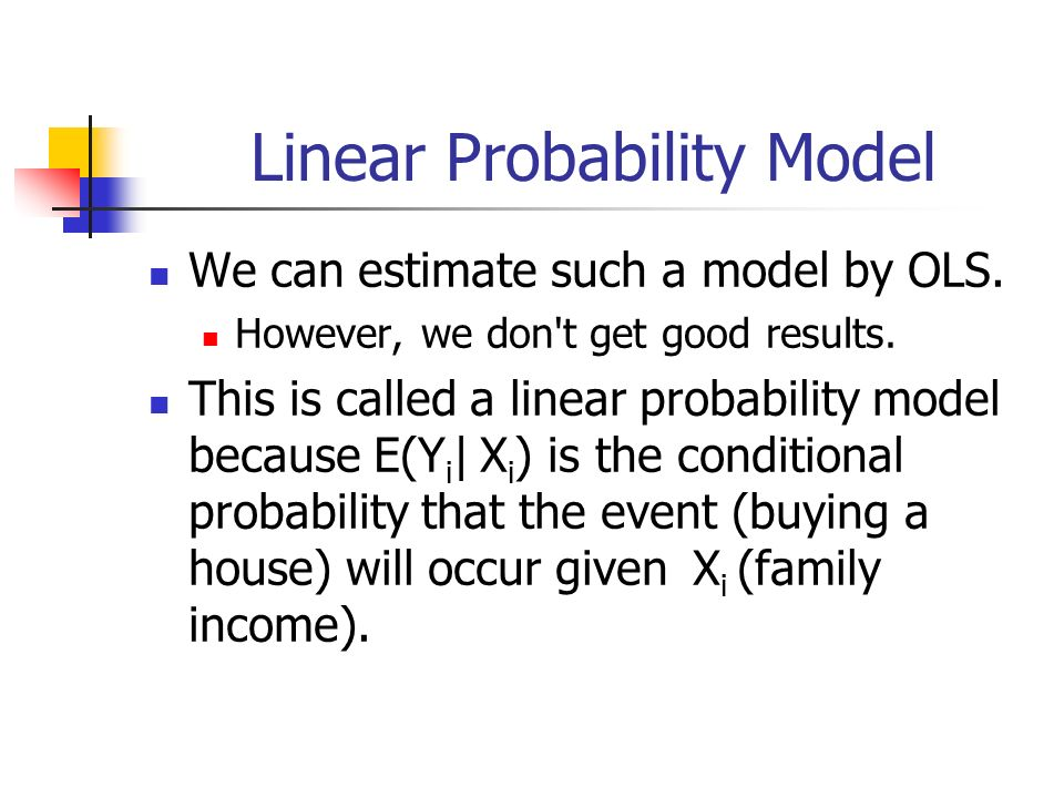 Linear Probability Model We can estimate such a model by OLS.
