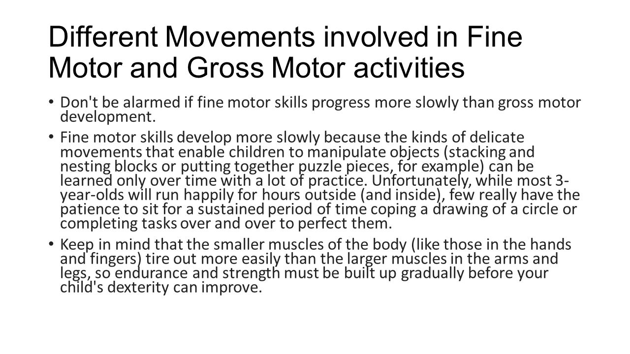 importance of movement in child development The value of movement activities for young children  contributed by kim davis movement is one of the most important aspects of a young child's life most early interactions involve movement this is true for all children, including children with autism spectrum disorders and other disabilities.