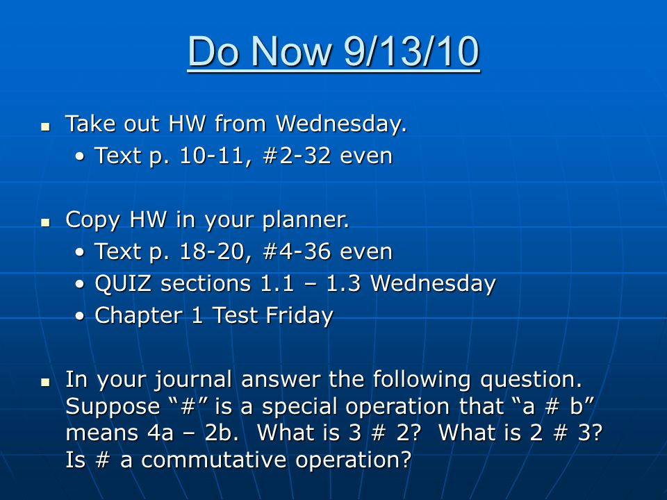 Do Now 91310 Take Out Hw From Wednesday Take Out Hw From