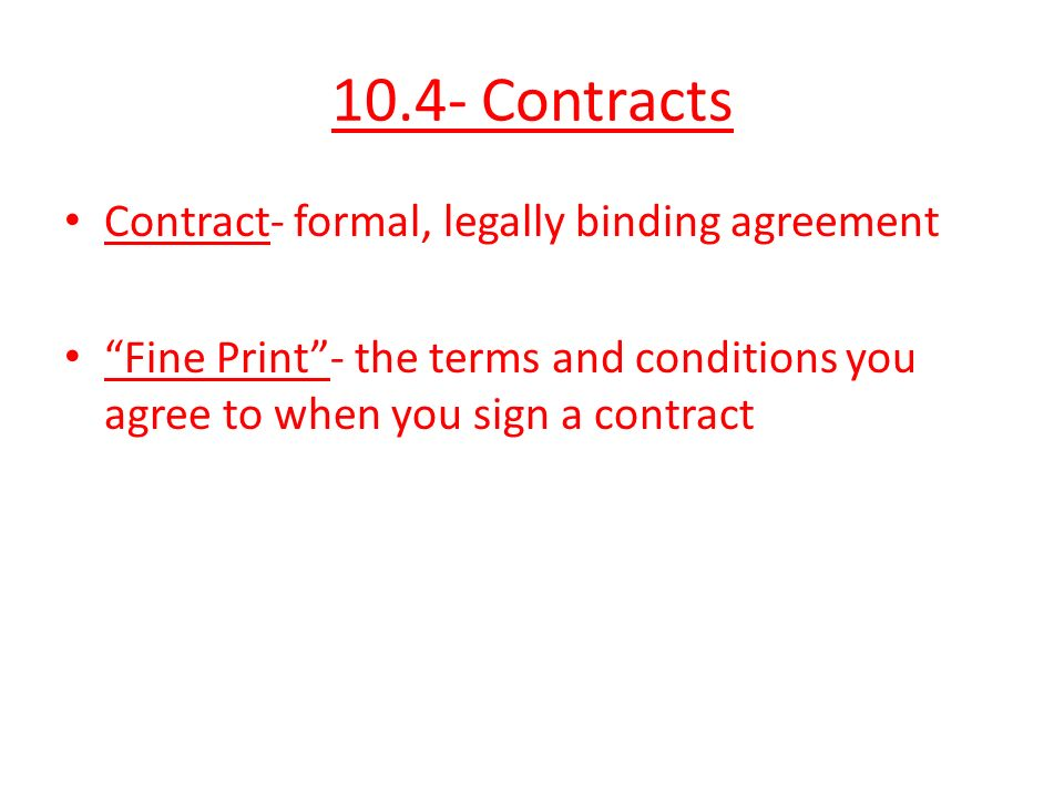 Do Now 1what Is A Contract 2 What Does It Mean When People Talk