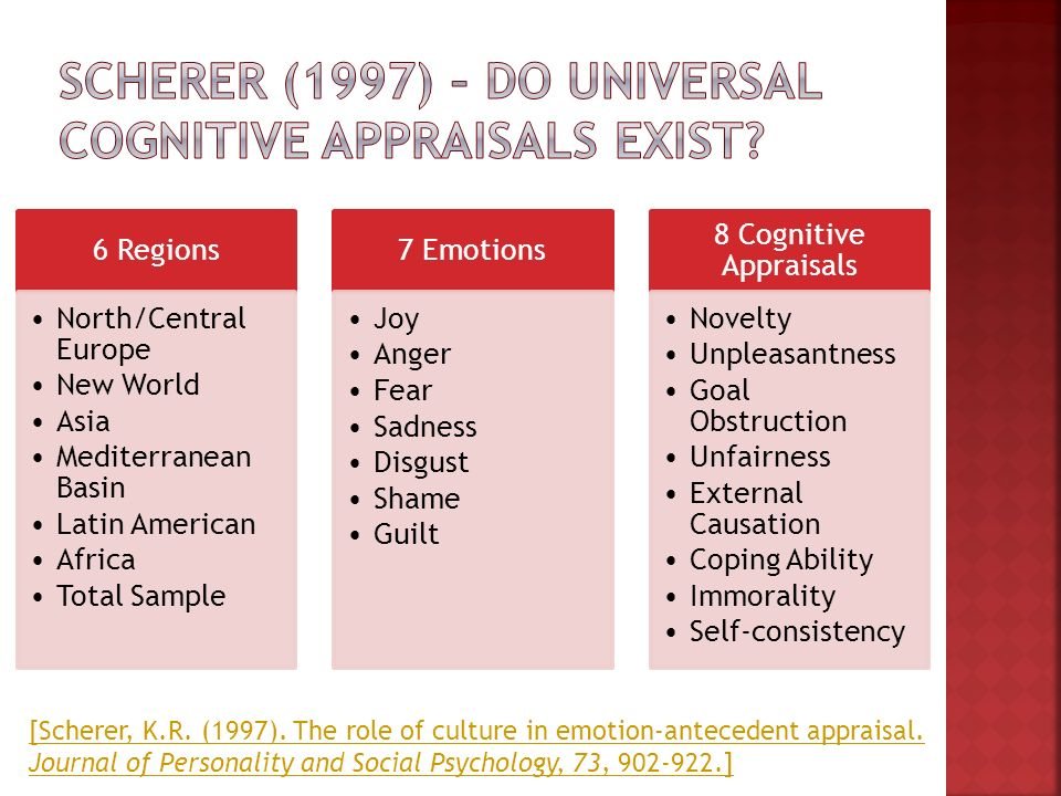 Cognitive Appraisal Patterns The Same For Each Emotion