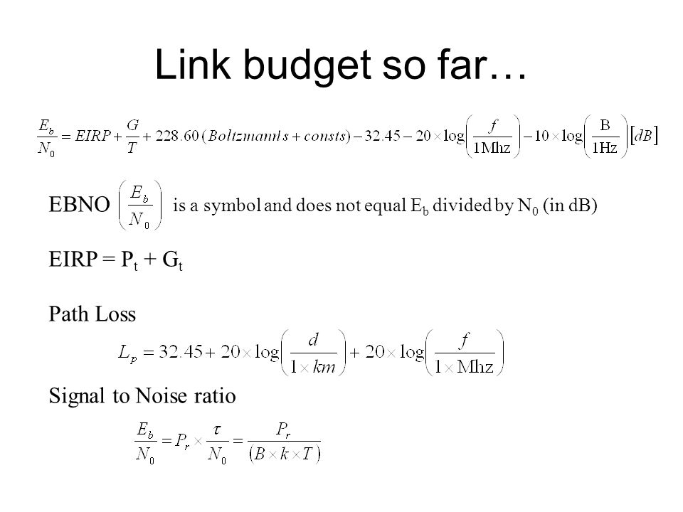 Link Budget So Far Ebno Is A Symbol And Does Not Equal E B Divided
