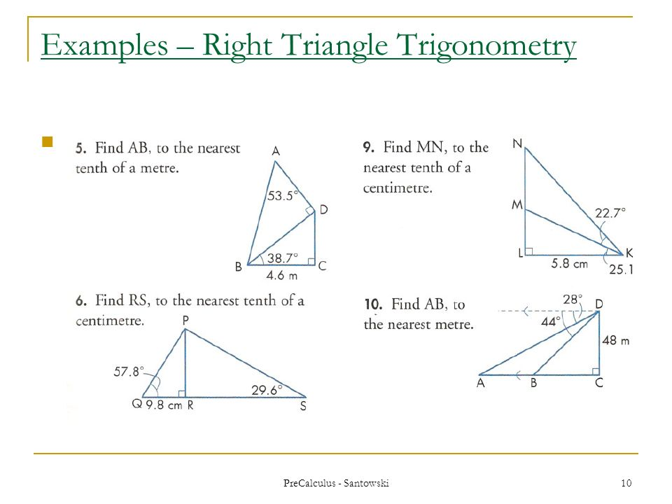 Precalculus Santowski 1 Lesson 26 Review Of Right Triangle