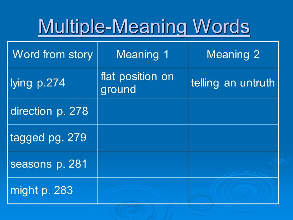 10 Multiple-Meaning ...