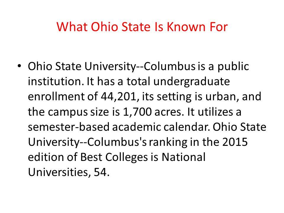 Academic Calendar Osu.Ohio State University Chris About Ohio State The Ohio State