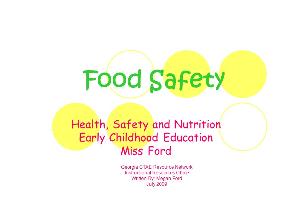 Food Safety Health Safety And Nutrition Early Childhood Education