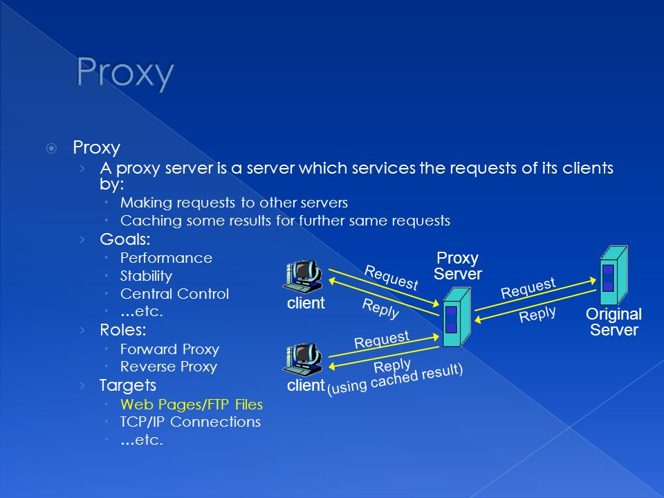 Proxy › A proxy server is a server which services the