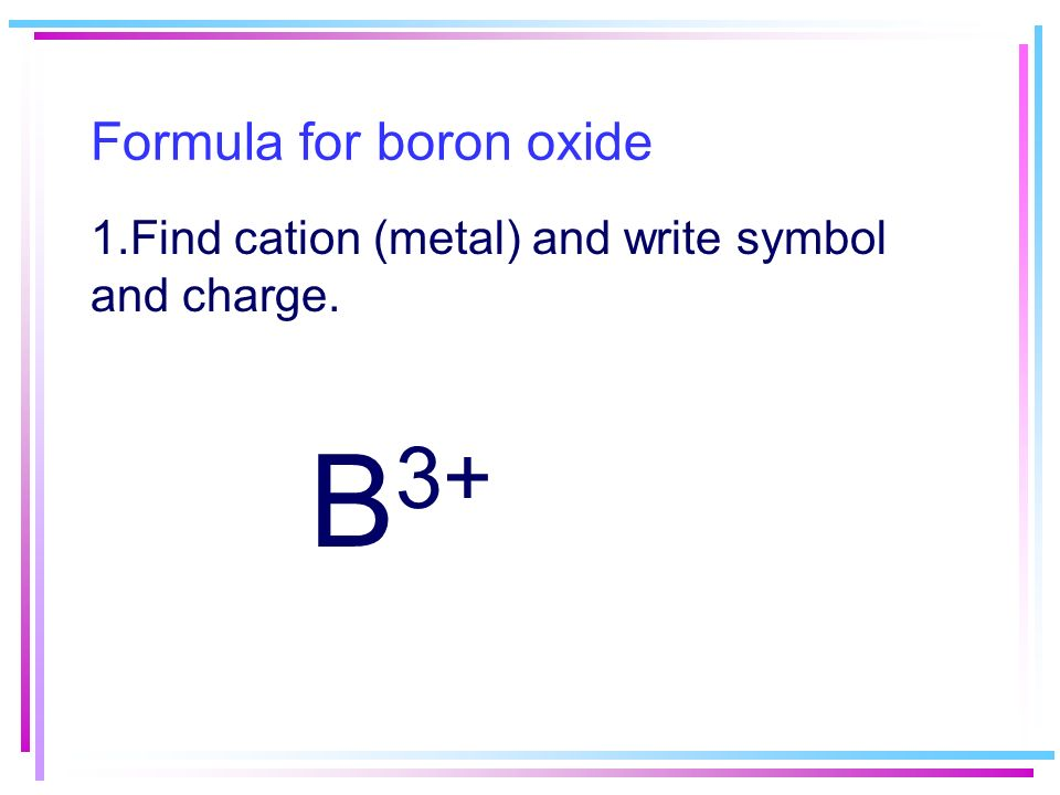find cation metal and write symbol and charge 2