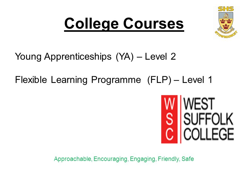 College Courses Young Apprenticeships (YA) – Level 2 Flexible Learning Programme (FLP) – Level 1 Approachable, Encouraging, Engaging, Friendly, Safe