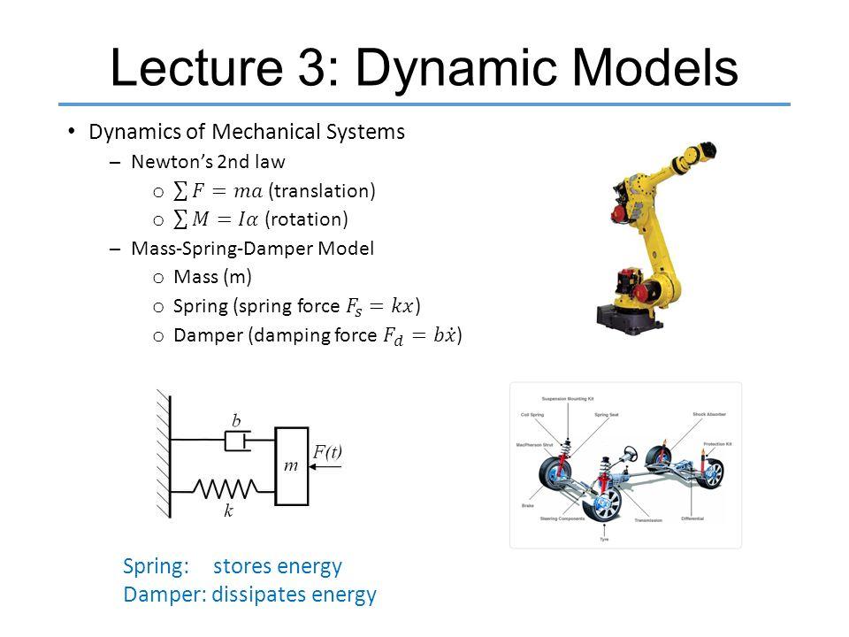 Lecture 3: Dynamic Models Spring: stores energy Damper