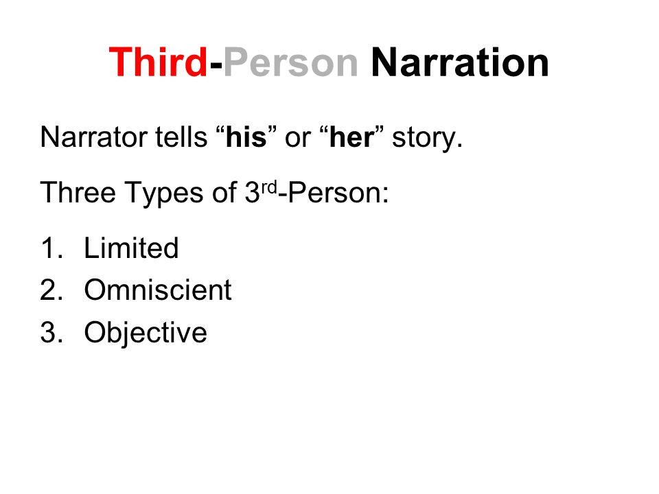 Third-Person Narration Narrator tells his or her story.