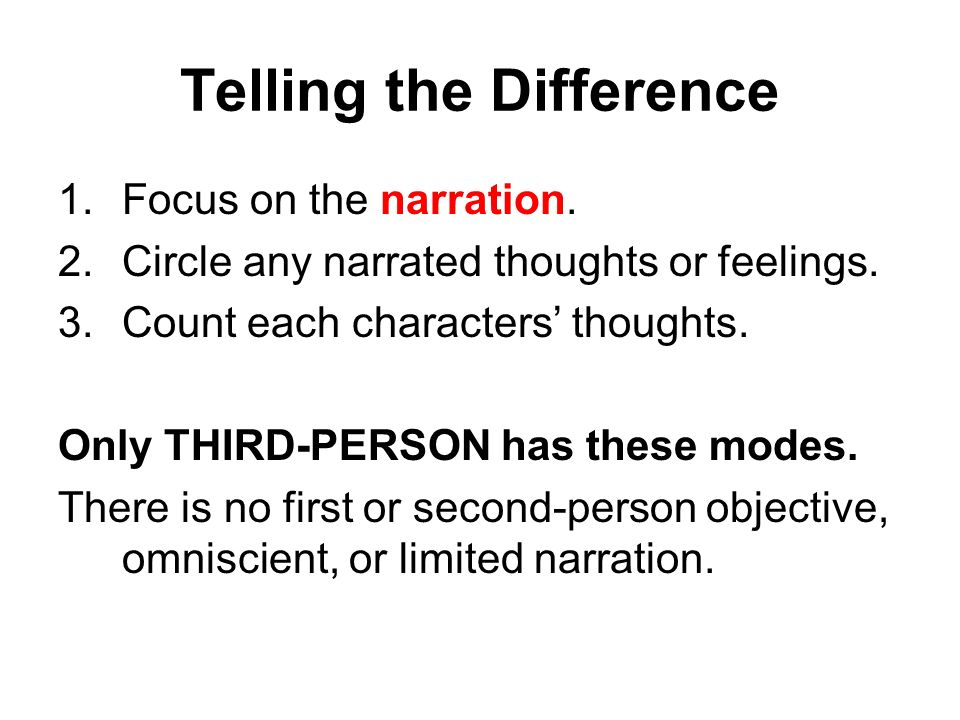 Telling the Difference 1.Focus on the narration. 2.Circle any narrated thoughts or feelings.