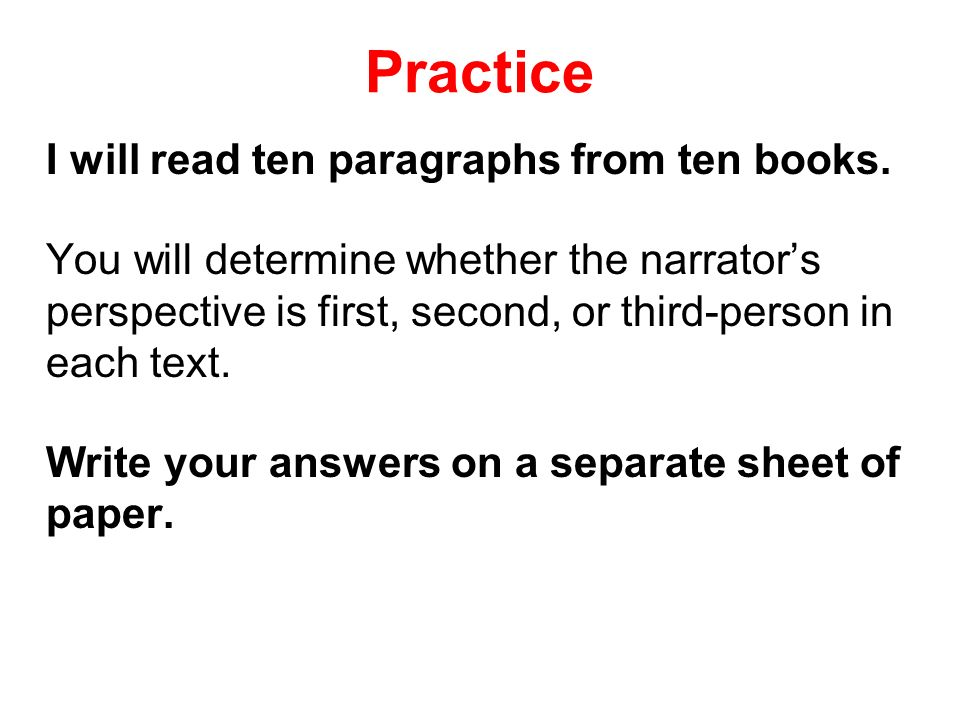 Practice I will read ten paragraphs from ten books.