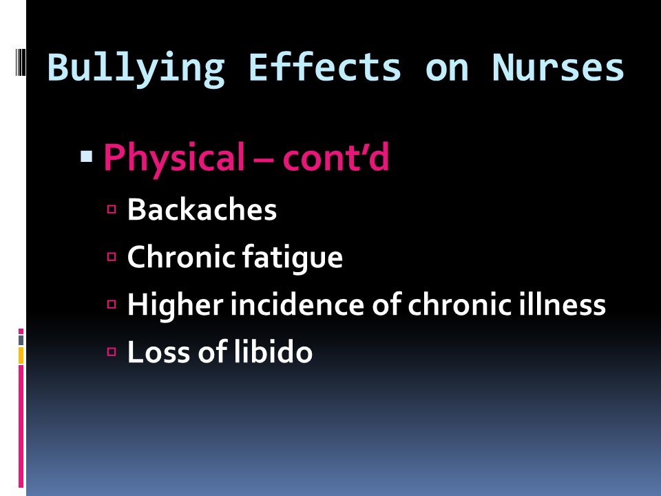 Bullying Effects on Nurses  Physical – cont'd  Backaches  Chronic fatigue  Higher incidence of chronic illness  Loss of libido