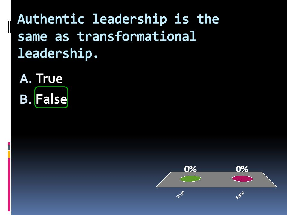 Authentic leadership is the same as transformational leadership. A. True B. False