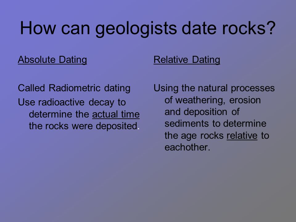 geologist use absolute dating hookup culture in germany
