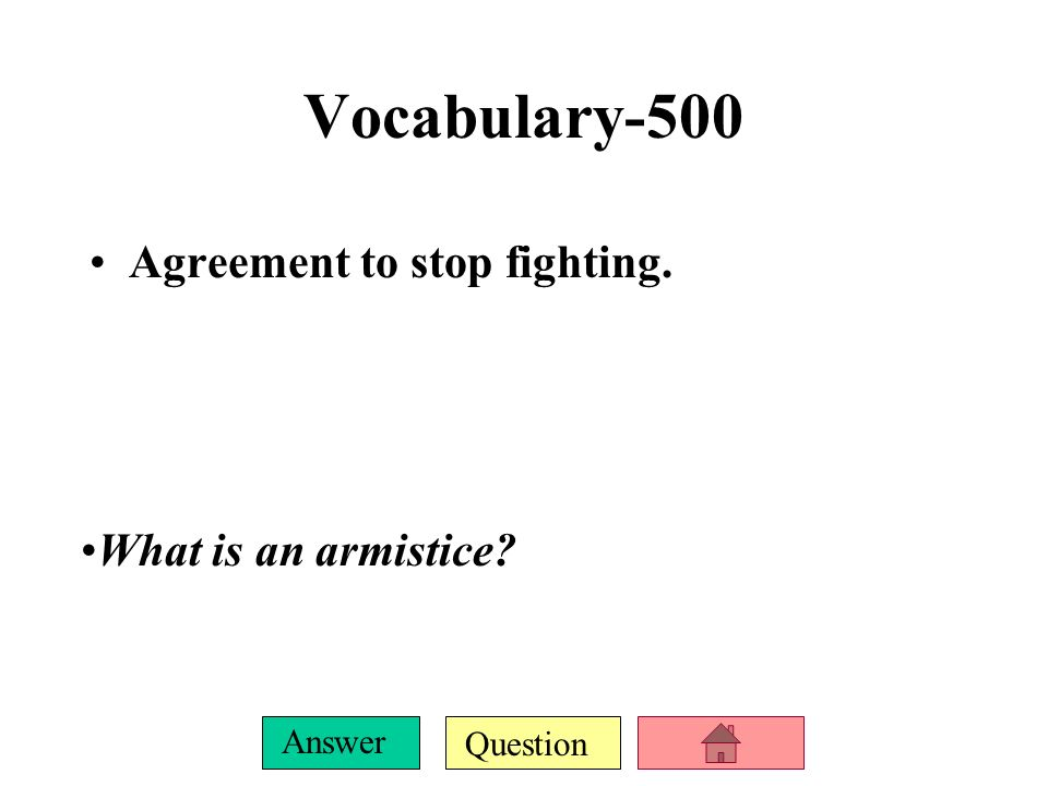 World War I Review Vocabularypre Ww I America During Ppt Download