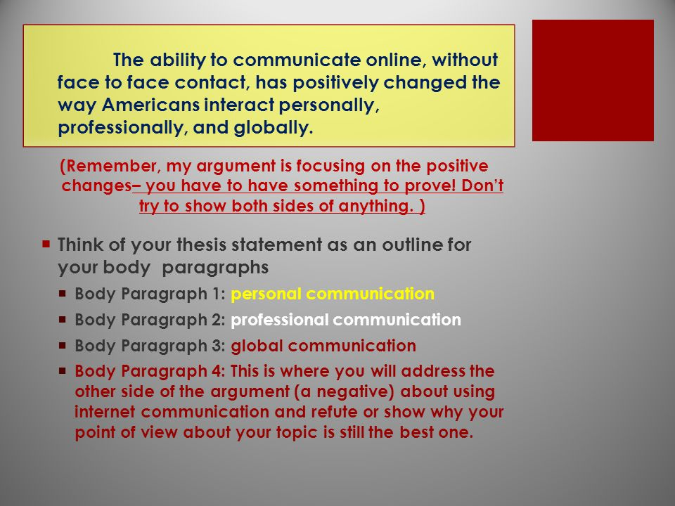 thesis of an argument Thesis statement for argumentative essay • incorporate the major arguments on both sides of the argument • demonstrate that the controversy exists • provide a basic plan for the essay complete although-because statement although the powerful american medical association has so far refused to recognize the usefulness of alternative medical techniques such as acupuncture because us.