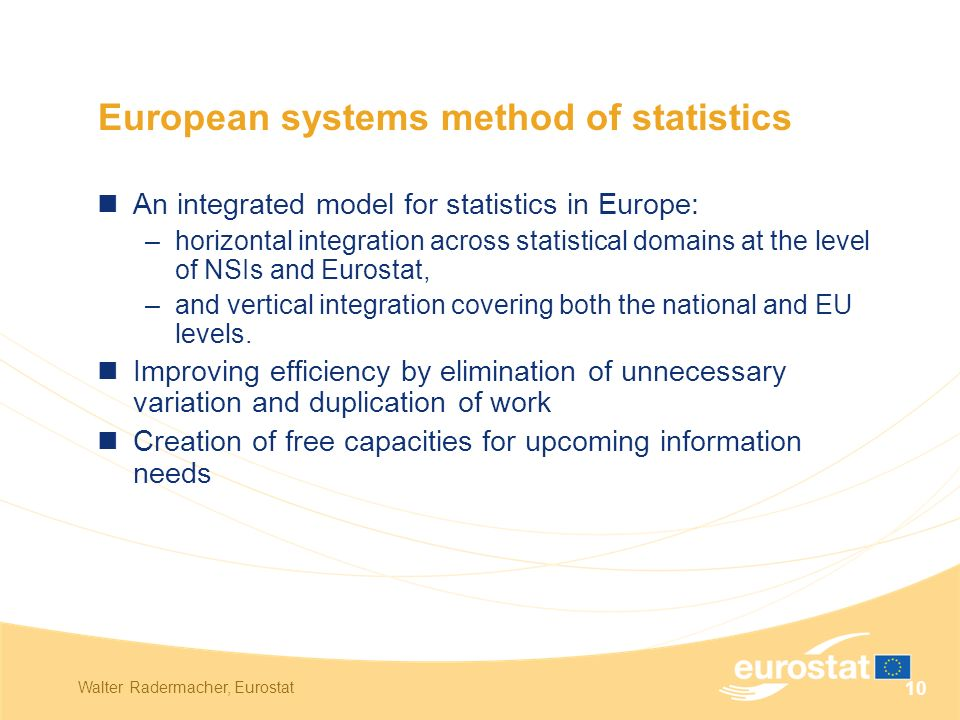 Walter Radermacher, Eurostat 10 European systems method of statistics An integrated model for statistics in Europe: –horizontal integration across statistical domains at the level of NSIs and Eurostat, –and vertical integration covering both the national and EU levels.
