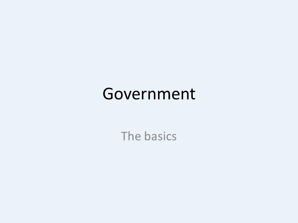 Government The basics