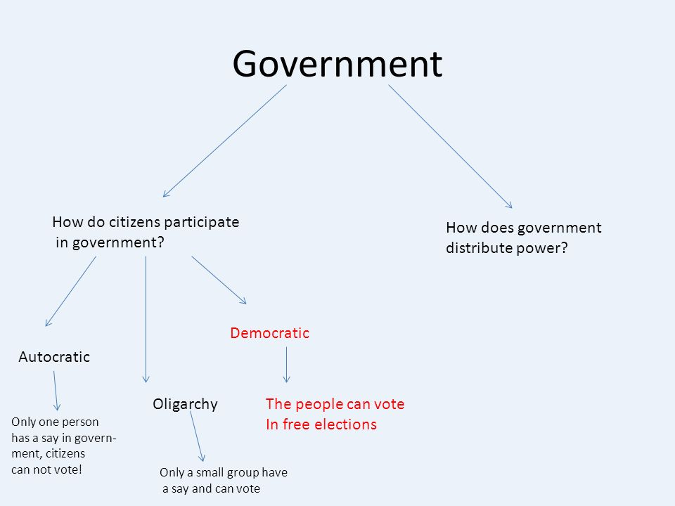 Government How do citizens participate in government.