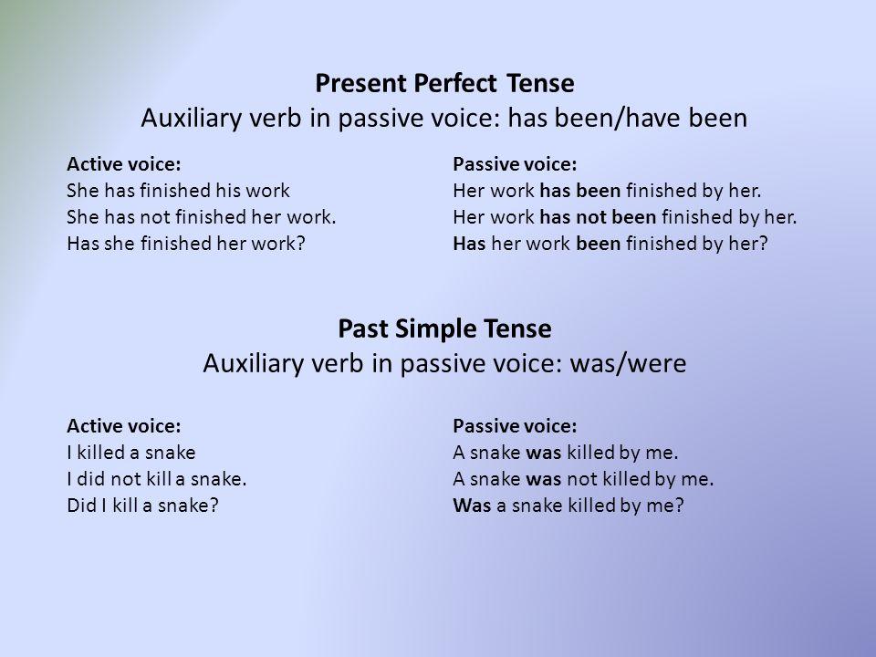 PASSIVE VOICE Present Simple Tense Auxiliary verb in passive