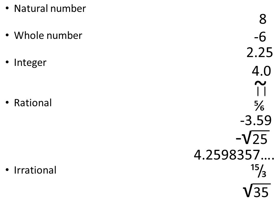 Natural number Whole number Integer Rational Irrational ~ ⅚ √ ….