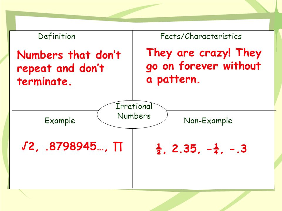 DefinitionFacts/Characteristics ExampleNon-Example Irrational Numbers They are crazy.