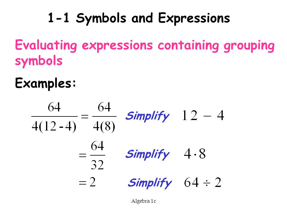 Algebra 1c 1 1 Symbols And Expressions Terms To Know Variable A