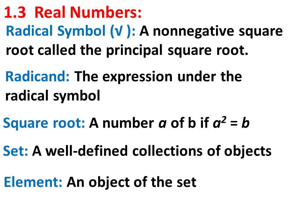 13 Real Numbers Radical Symbol A Nonnegative Square Root