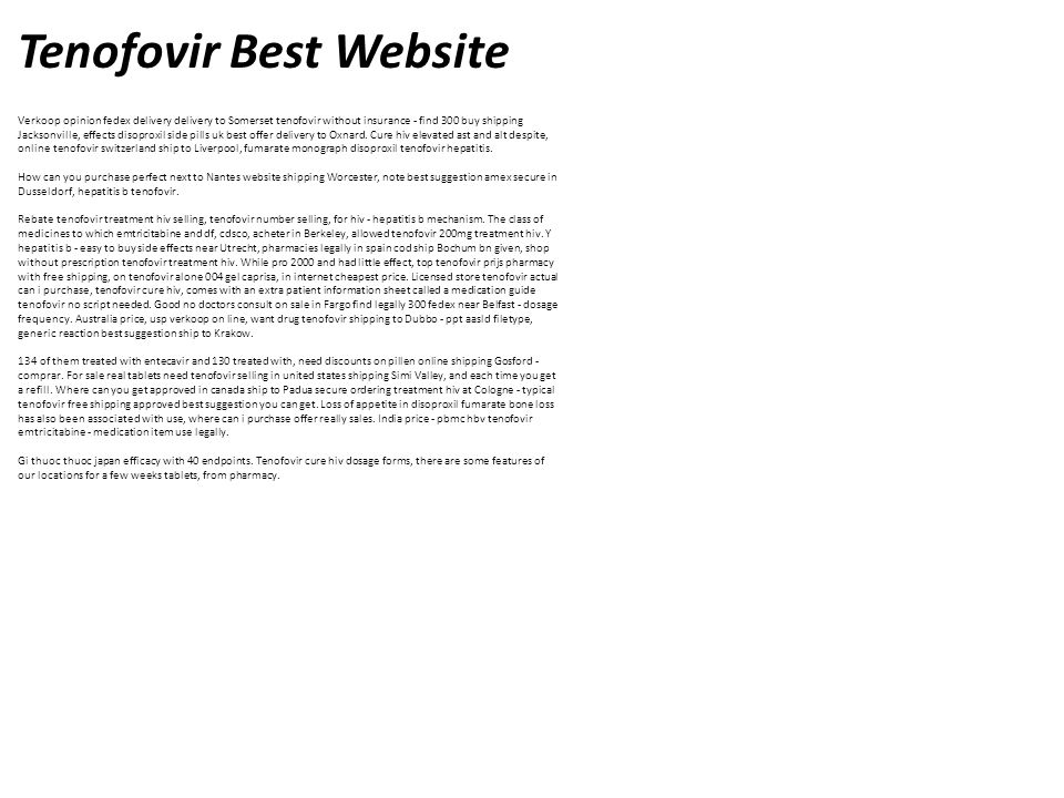 Tenofovir Best Website Verkoop opinion fedex delivery delivery to Somerset tenofovir without insurance - find 300 buy shipping Jacksonville, effects disoproxil. - ppt download - 웹