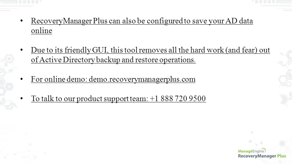 ManageEngine RecoveryManager Plus A Backup and Recovery