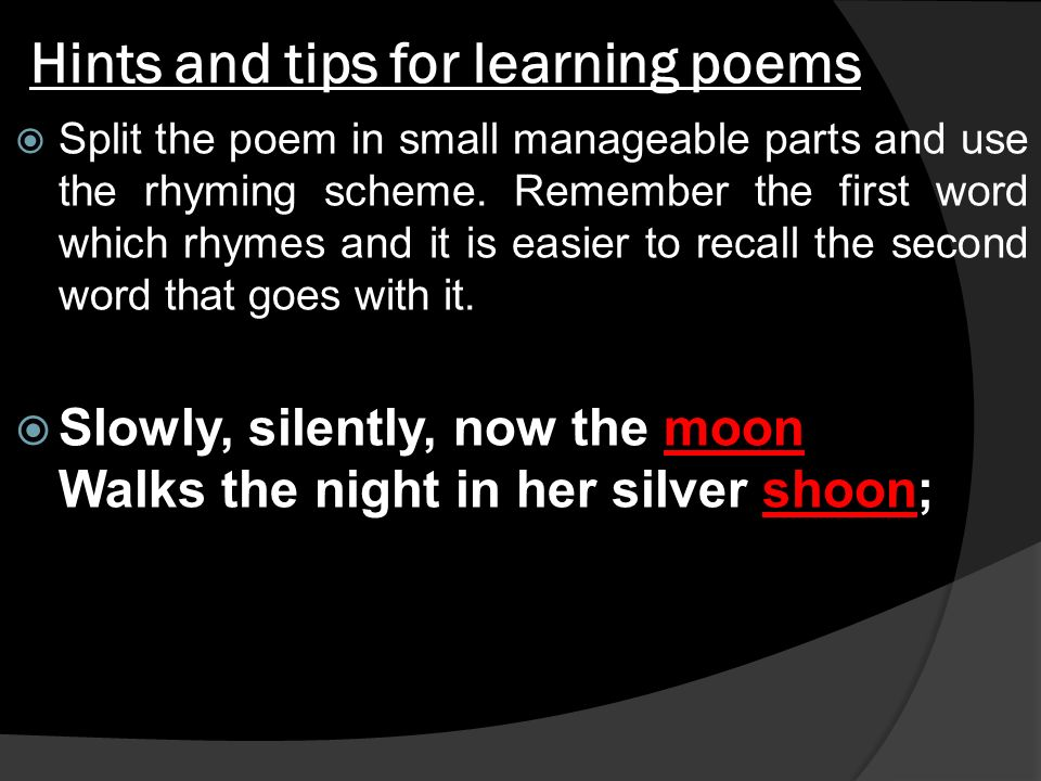 poem slowly silently now the moon