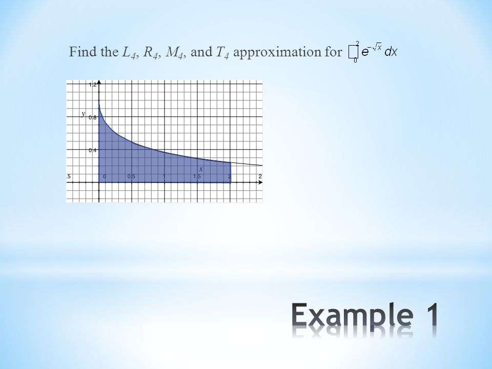 Find the L 4, R 4, M 4, and T 4 approximation for