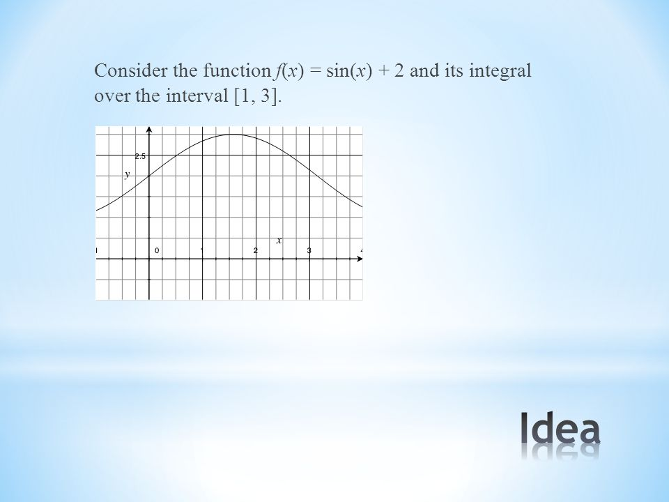 Consider the function f(x) = sin(x) + 2 and its integral over the interval [1, 3].