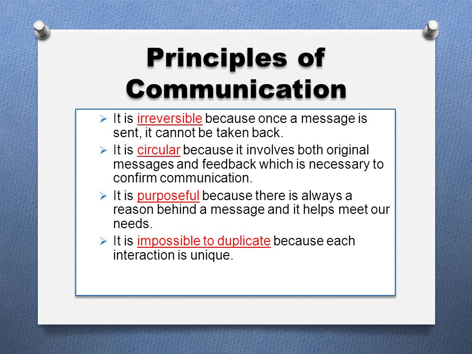 communication is irreversible