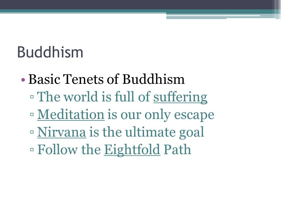 The Major Philosophy of Buddhism Buddhism states that existence is a continuing cycle of death and rebirth called reincarnation.