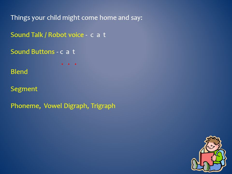 Things your child might come home and say: Sound Talk / Robot voice - c a t Sound Buttons - c a t...