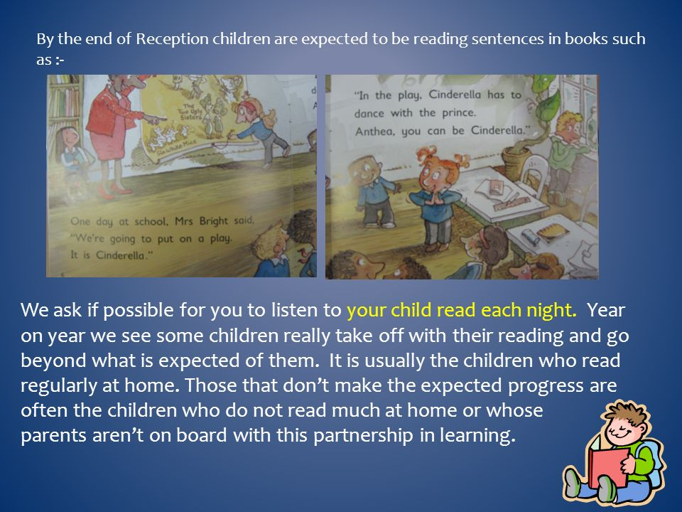 By the end of Reception children are expected to be reading sentences in books such as :- We ask if possible for you to listen to your child read each night.