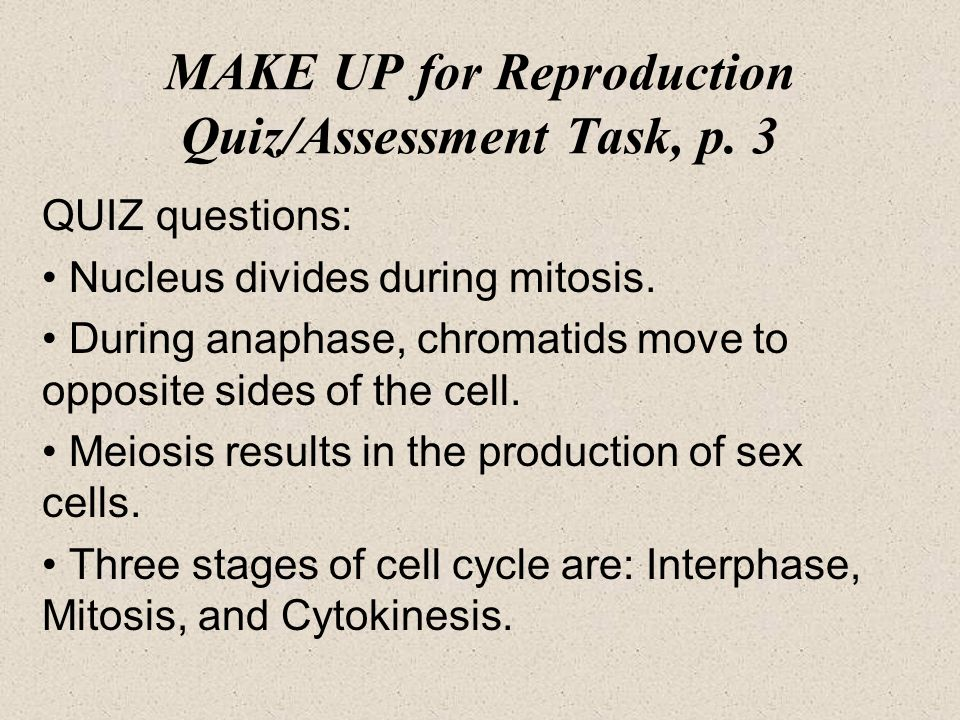 Sexual reproduction and meiosis quiz