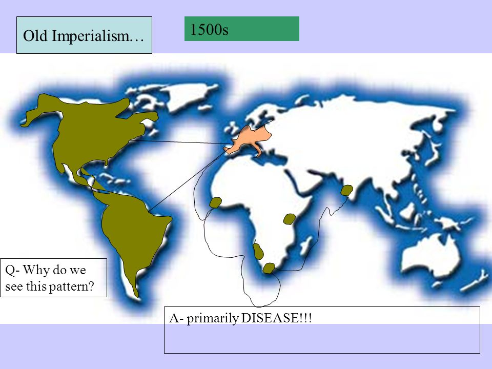 Old Imperialism… 1500s Q- Why do we see this pattern A- primarily DISEASE!!!