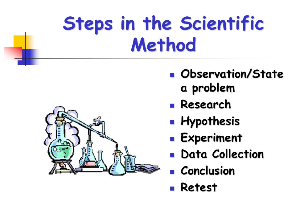 Steps in the Scientific Method Observation/State a problem Observation/State a problem Research Research Hypothesis Hypothesis Experiment Experiment Data Collection Data Collection Conclusion Conclusion Retest Retest