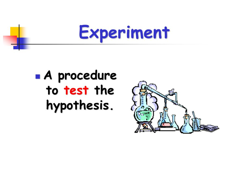 Experiment A procedure to test the hypothesis. A procedure to test the hypothesis.