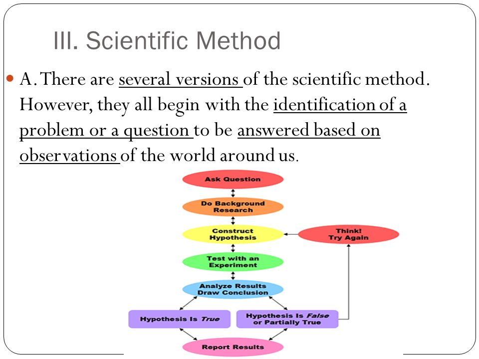 III. Scientific Method A. There are several versions of the scientific method.